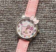 Girl Kid Children Cute Pink Hello Kitty Synthetic leather Wrist Watch Gift her