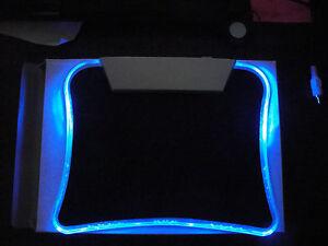 LED Blue Light Illuminated Mouse Pad with 4 USB Hub Ports PC-Computer-Laptop