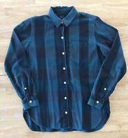 Gap Women's Green Black Checked Long Sleeve Flannel Shirt XS