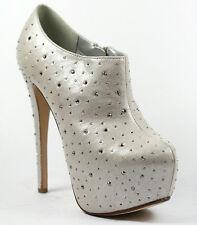 Silver Beige Studded Almond Toe Platform High Stiletto Heel Ankle Bootie Boot
