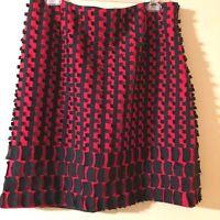 Carlisle Per Se Mini Skirt Red and Black Mod Lined Side Zip Size 10US Size 12UK