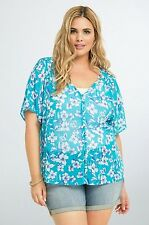 NWT Torrid Plus Size 4X Blue Floral Chiffon Button Front Top  (III60)