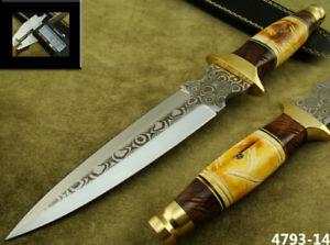 CUSTOM HANDMADE ACID ETCH STAINLESS STEEL HUNTING DAGGER KNIFE (4793-5