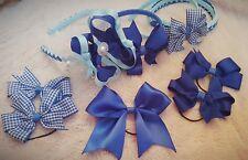 Royal blue tulle headband set bobbles hair bow school gingham 9 piece handmade