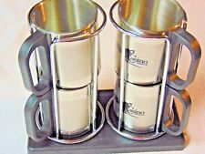 NEW Isle of Capri Casino 4 Metal Frosty Mugs and Display Rack
