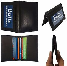 Men's New Thin Black Bifold Genuine Leather Wallet ID Credit Card Money Holder.