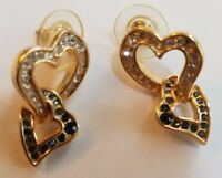 Vintage Gold Tone Heart Rhinestone Earrings Post  Romantic Jewelry Valentine's