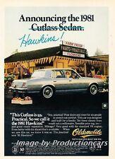 1981 Oldsmobile Cutlass Hawkins Original Advertisement Print Art Car Ad H98