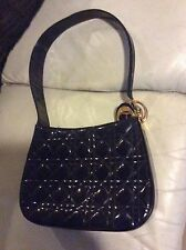 Authentic Christian dior  lady patent handbag shoulder bag pure cannage quilted