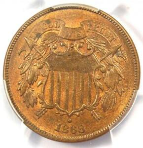 1868 Two Cent Piece 2C - PCGS Uncirculated Detail (MS UNC) - Rare Certified Coin