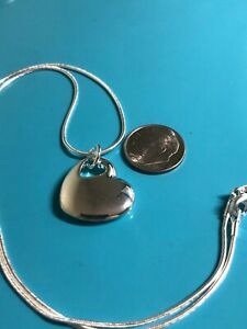 """HEART PENDANT Solid Silver with 925 mark on Heart with 18"""" Snake Chain Necklace"""