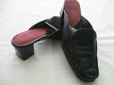 "Aerosoles Womens Black Leather Mules Slip-on Wheel Barrel  8B EUC 2 1/4"" Heel"