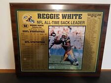 """Reggie White Nfl- All Time Sack Leader Autographed 16""""x13"""" Plaque : Packers"""