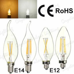 6 x E14/E12 2W 4W Edison Filament LED Bulbs Chandelier Candelabra Candle Light