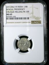 India Bengal Presidency AH1204//19 1819 1/4 Rupee *NGC MS-65*  Frozen Year RARE