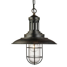 Searchlight 5401BG Fisherman Black Gold Ceiling Light With Caged Shade