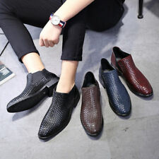 Men Casual Oxford Leather Shoes Pointed Toe Loafers Slip on Dress Wear Resistant