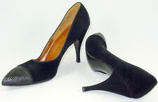 8.5 N Black Suede Bombshell Stiletto Heels Pin Up Fluted Leather Toe Cap