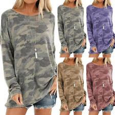 Damen Camouflage Tunika Longtop Blusen Langarm Pullover Sweatshirt Longshirt Neu