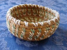 Vintage Woven Pine Needle Basket Pastel Colors