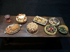 Vintage Dolls House Artisan 1/12 Food Cakes Pastries Puddings Desserts