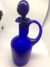 SALE MINT EARLY OPEN PONTIL COBALT BLUE 18 SWIRLS PATTERN GLASS CREAMER &STOPPER