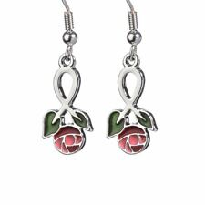 Angelys Inspired by Charles Rennie Mackintosh Large Rose Drop Enamel Earrings