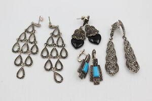 4 x .925 Sterling Silver EARRINGS inc. Marcasite, Drops, Ornate (32g)