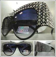 OVERSIZED VINTAGE RETRO Style SUN GLASSES Black Frame Bling Crystals Custom Made