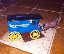VINTAGE MONTGOMERY WARD DIECAST METAL HORSE DRAWN STAGE COACH BANK EUC
