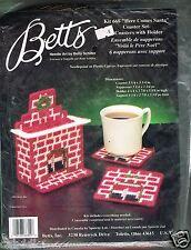 1991 Vtg Plastic Canvas Kit Christmas Coaster Coasters Fireplace Holder Santa