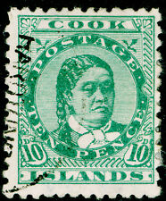 COOK ISLANDS  SG10, 10d green, FINE USED. Cat £50.
