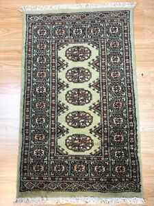 Bokhara Rug in Green - Original Hand Knotted Oriental Wool Rug 62x102cm -40%RRP