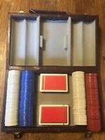 Vintage 1970's Poker Chips Top Hat Design Nice Carry Case