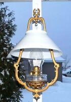 Antique Victorian 1880s - 1890s Bradley Hubbard ORNATE BRACKET Oil Hanging Lamp
