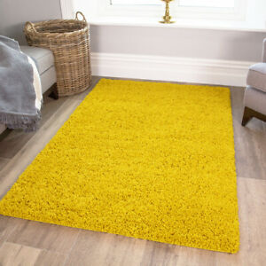 Cosy Non Shed Cheap Kids Deep Yellow Soft Touch Colourful Living Room Shaggy Rug