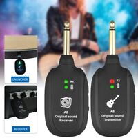 UHF Guitar Wireless System Transmitter + Receiver Built In Rechargeable Battery