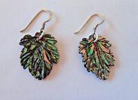 20x15mm Leaf shape Abalone Sterling Silver 15mm long Wire Earrings