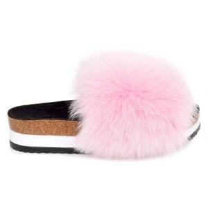 Platform Slides with Pink Fox Fur High Sole Slippers With Fur Slip-On Sandals