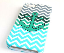 for iPhone SE 5S - Turquoise Blue Grey Chevron Anchor Hard Protector Case Cover