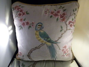 HAND PAINTED PILLOW   BIRD  FLORAL  FLOWERS   HAND PAINTED