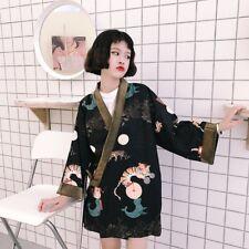 Lady Japanese Kimono Coat Loose Yukata Outwear Tops Casual Vintage Black Fashion