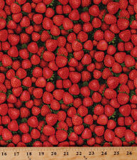 Cotton Strawberries Strawberry Fruits Foods Cooking Fabric Print BTY D574.59