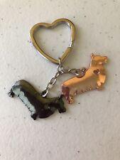 2 Pembroke Welsh Corgis Dog Puppy Pet Key Ring/Chain Charcoal & Rose Gold