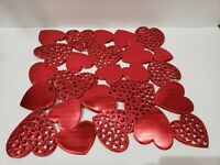 Valentines Vinyl Red Hearts Cut Out Placemats Decorations Set of 4