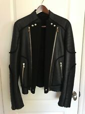 Balmain Shearling Leather Jacket in Black [Size EU 46] Moto Paris