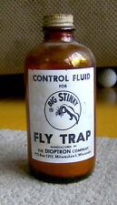 Rare vintage 1950s Big Stinky Fly Trap fluid glass bottle Bugs Insects Dioptron