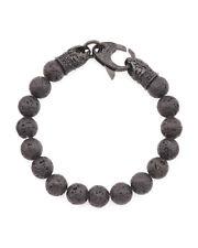 BLACKJACK Mens Lava Stone Black Stainless Steel Beaded Bracelet BJS16BLV $120NWT