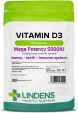 VITAMIN D3 5000IU High Strength 150 Capsules Soft Gel Immune Health Lindens