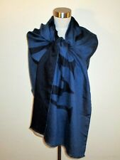 """NWT AUTHENTIC MULBERRY ENGLAND 23""""X72"""" TWO-TONE BLUE SCARF made in Italy"""